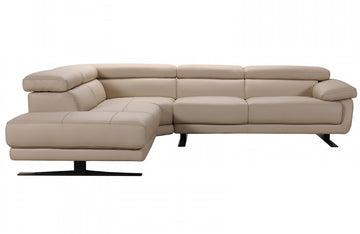 Veronica Modern Taupe Leather Sectional Sofa
