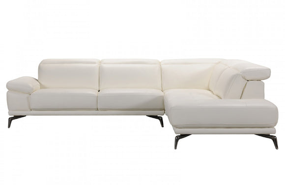Kyla Modern White Leather Sectional Sofa