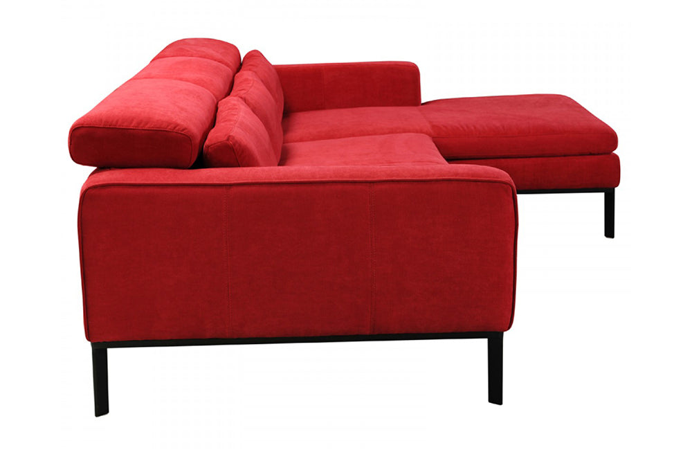 Jazmine Modern Red Fabric Sectional Sofa