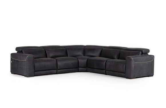 Thelma Modern Black Italian Leather Sectional Sofa
