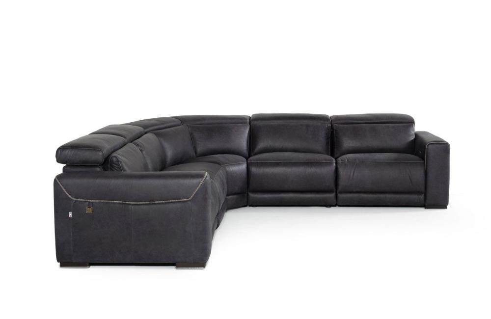 Thelma Modern Black Italian Leather Sectional Sofa Buy 7600 In A