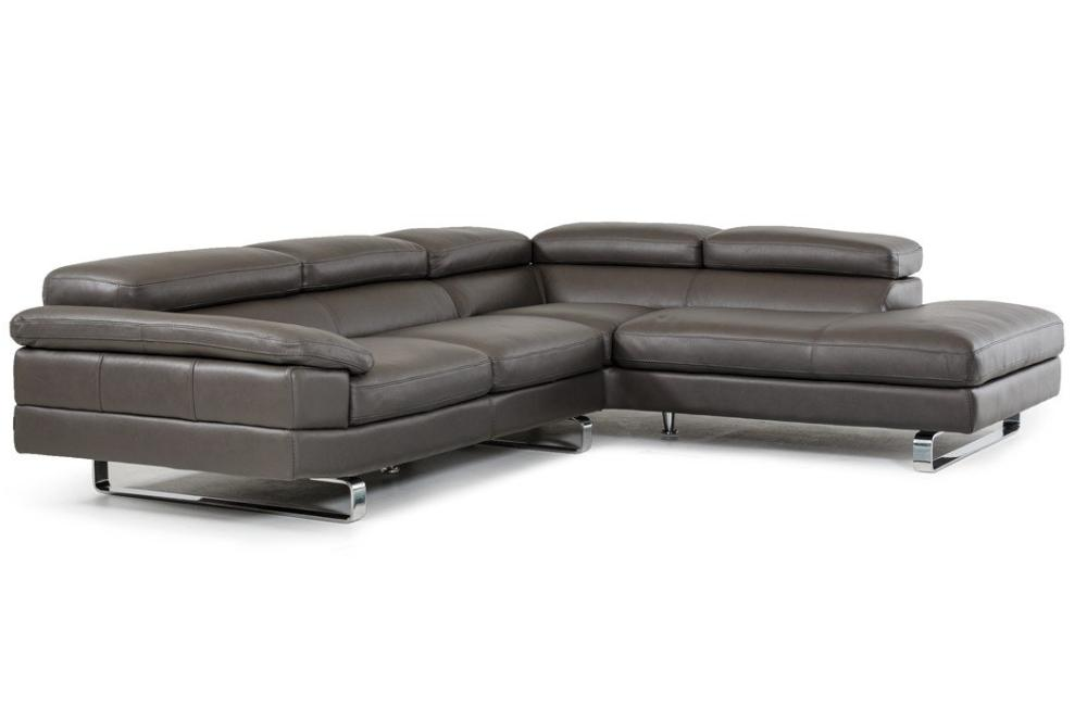 Paxton Italian Modern Grey Leather Sectional Sofa