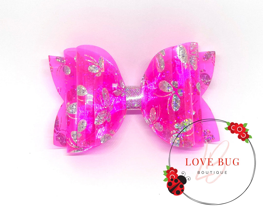 Hot Pink Holographic Butterfly Jelly