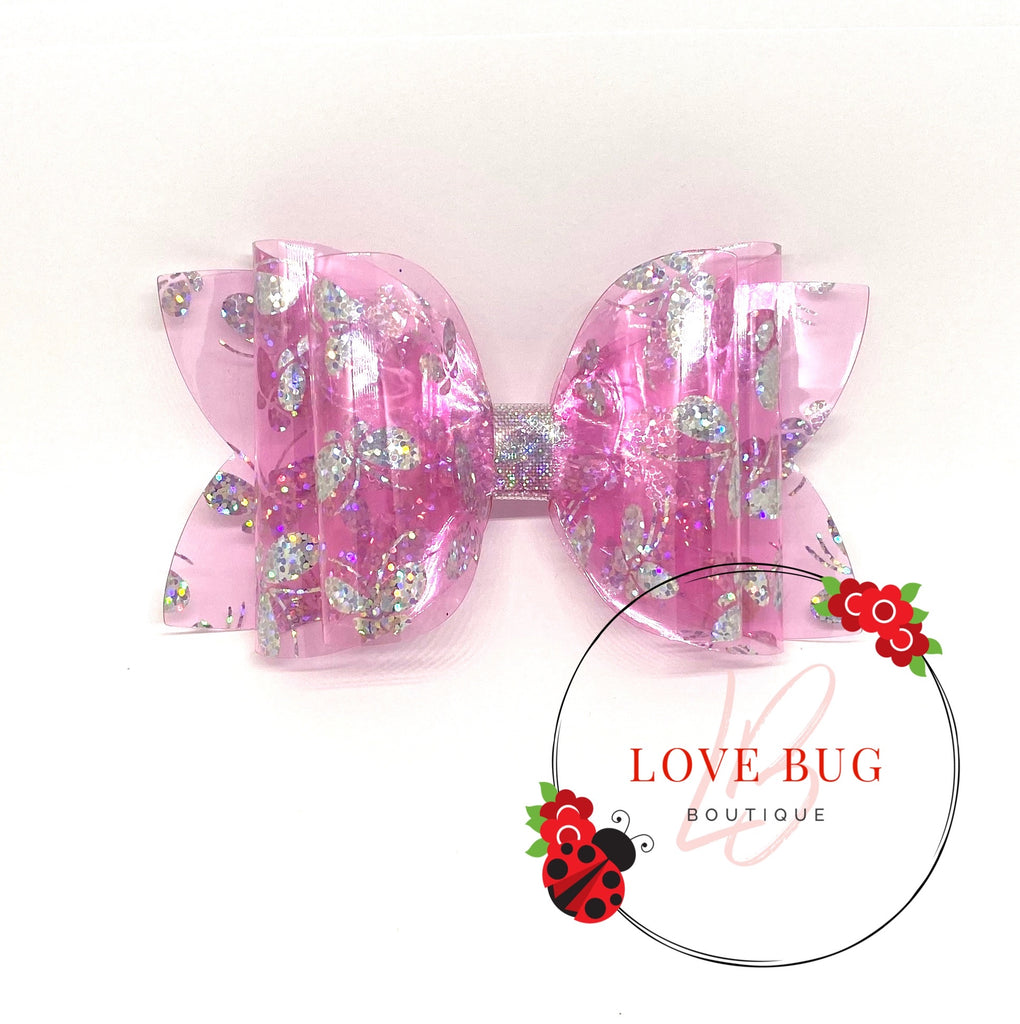 Pink Holographic Butterfly Jelly