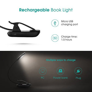 TopElek GEHM215AB 7 LED Clip Reading Lamp with 9-Level (Warm/Cool White), USB Rechargeable, Eye Care Brightness Book Light