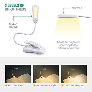 LuminoLite 3000K Warm LED Book Light, Easy for Eyes, Clip on Reading Lights for Reading in Bed, Car & Travel, Rechargeable Slim 2.1 oz. Light Weight. Perfect for Bookworms & Kids (Elegant White)