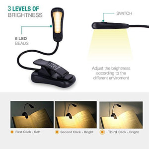 LuminoLite Rechargeable 3000K Warm 6 LED Book Light, Easy Clip on Reading Lights for Reading in Bed. 3 Brightness Eye-Care, 2.1 oz Lightweight, Up to 60 Hours Reading. Perfect for Bookworms & Kids
