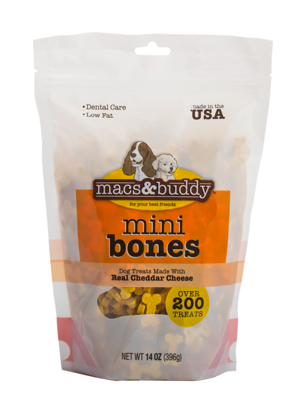 14oz Macs & Buddy Mini Bone Treats-Cheese