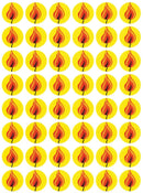 "Round Flame Stickers 3/4"" 10/Sheets"