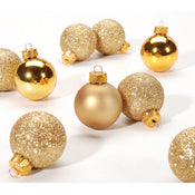 Gold Christmas Ornaments: Ball - 30 millimeters - 9 pack