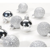 Silver Multi-Finish Christmas Ornaments: 30mm, 9 pack