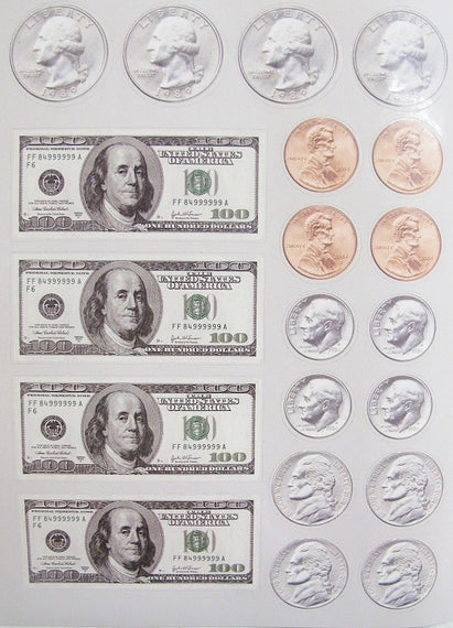 Money Bill & Coin Sticker 6/Sheets