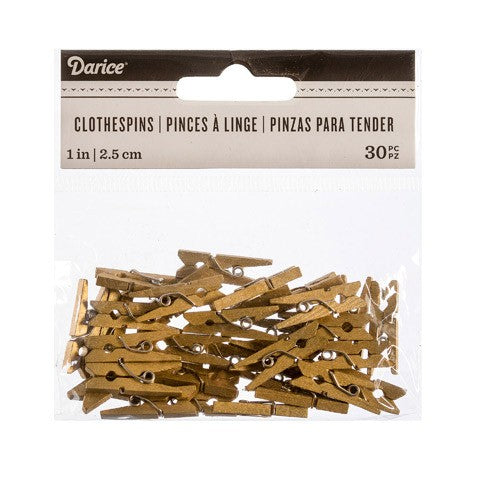 Mini Gold Clothespins: 1 inch, 30 pieces