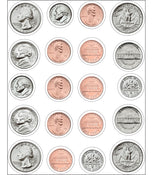 U.S. Coins Stickers 6/sheets