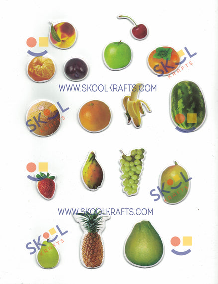 "Printed Fruits Self-adhesive Foam Shapes 1.5"" - 3.5"" 68/pc"