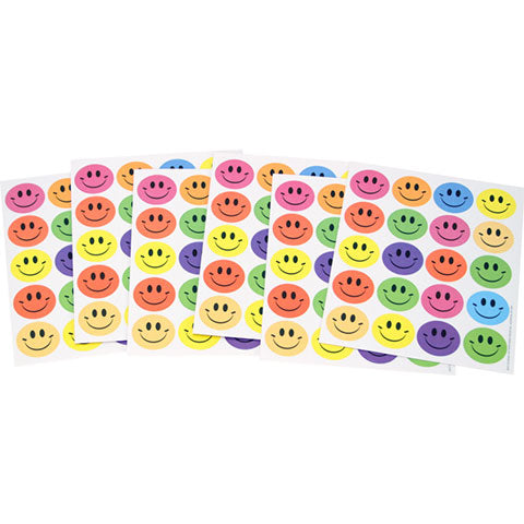 Assorted Colored Smile Stickers 6/sheets