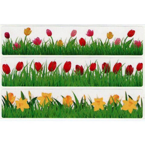 "Stickers Flower Strips 6-1/2"" x 1-1/2"""