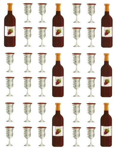 "Wine And Cups Stickers (Cups- 3/4"", Bottles- 1 3/4"")"