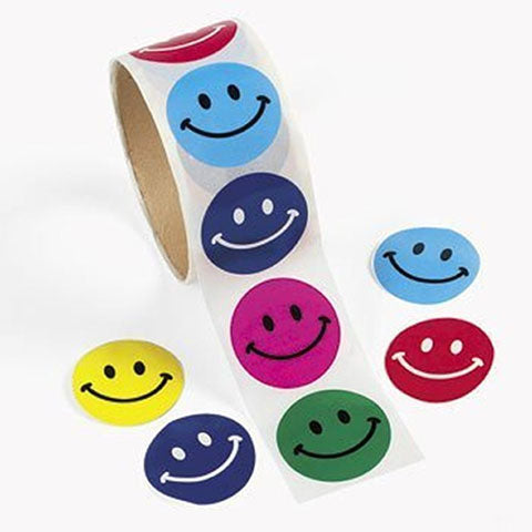 Stickers Smile Face 100/Pk on roll