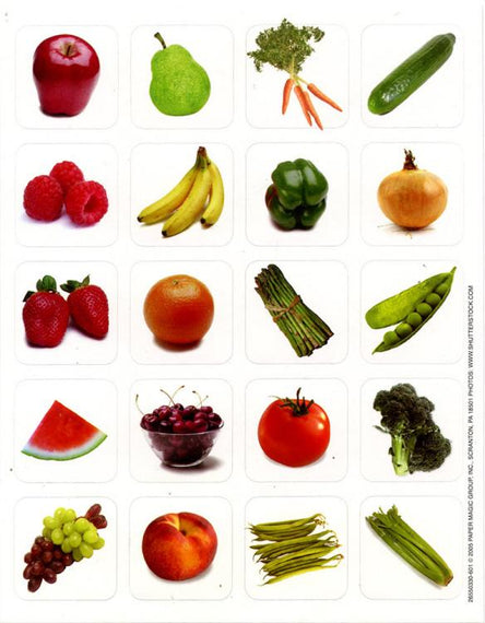 Stickers Theme Fruits & Vegetables 6 sheets