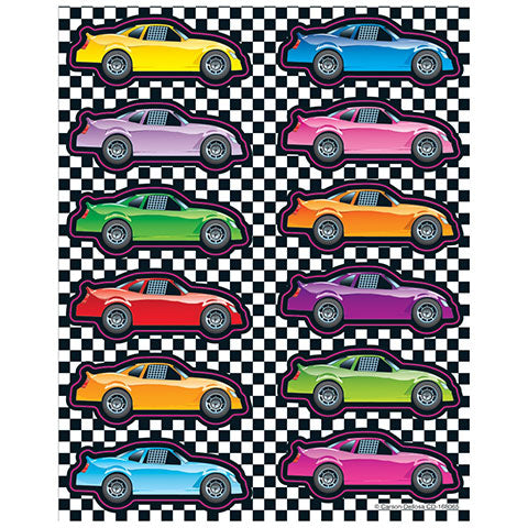 Stickers Race Cars Shape 6/sheets