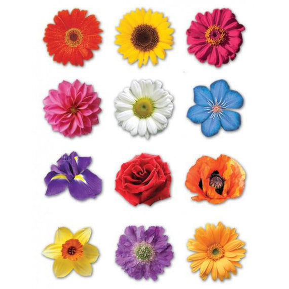 Colorful Flower Stickers 1""