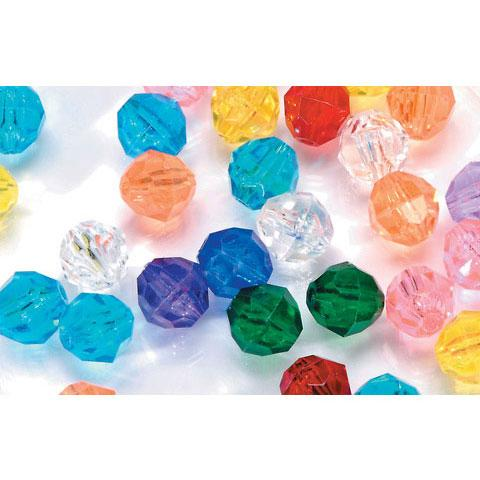 Faceted Acrylic Round Transparent Bead