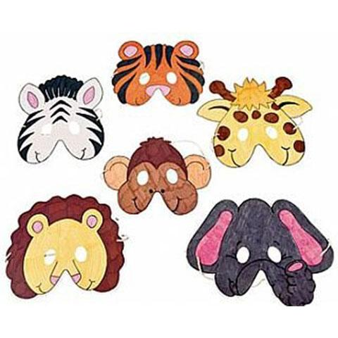 Cardboard Color Your Own Zoo Animal Masks 12/pk