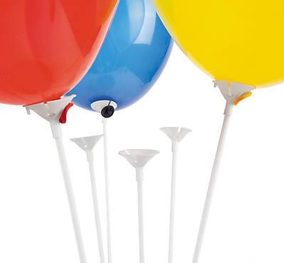 White Balloon Sticks with Cup 144/pk