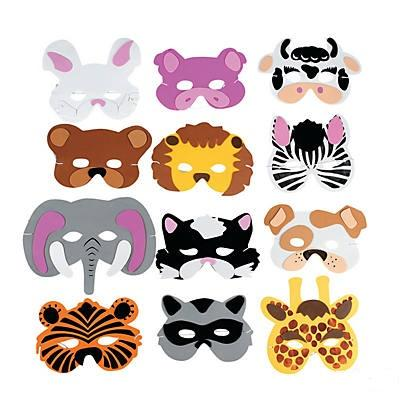 Wild Zoo Animal Foam Masks 12/pk