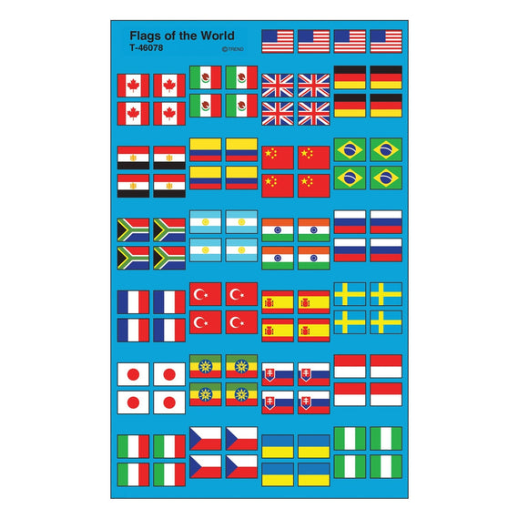 Global Flags Stickers 8/sheets