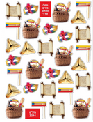 Purim die-cut stickers 10 Sheets
