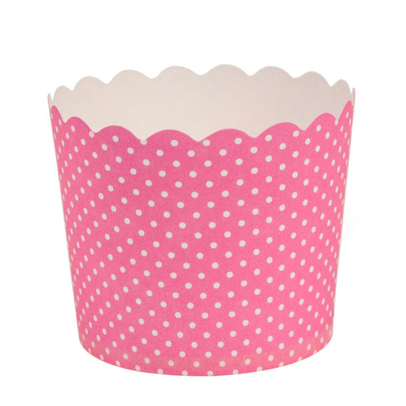 Scalloped Baking Cups Pink Polka Dots Small Size 20/pk