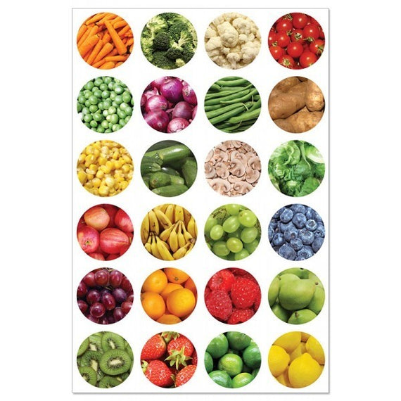 "Fruits & Veggies Stickers 1"" (20 Sheets)"