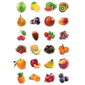 "Fruit Stickers 1"" 10 sheets"