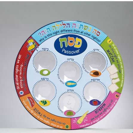 Printed Colorful Laminate Disposable Seder Plate 11""