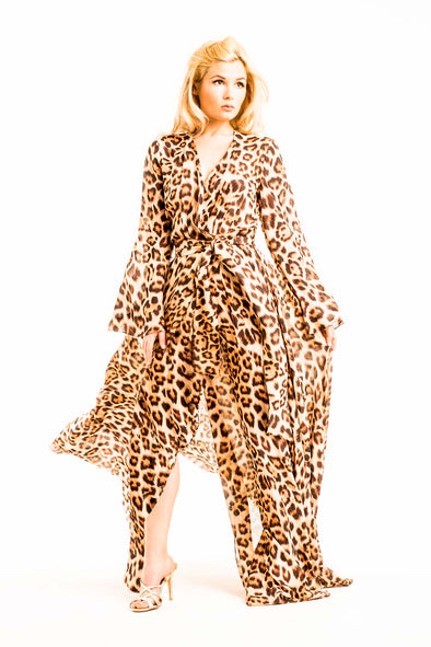 Brown-Leopard-Print-Kaftan-Wrap-Beach-Summer-Dress