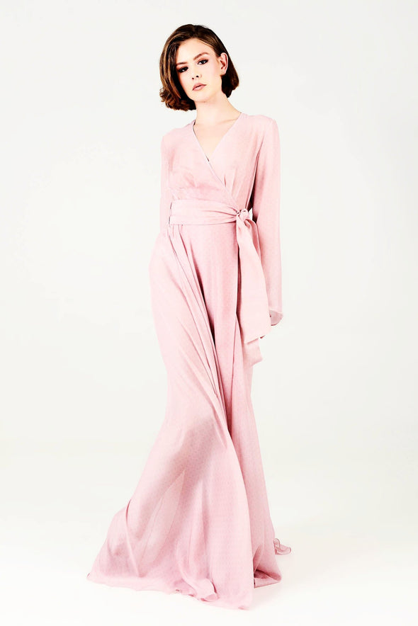 Pink-Kaftan-Wrap-Dress-Wedding-Bride