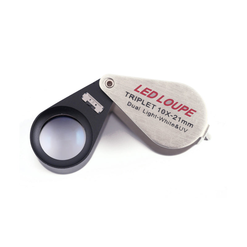 10x21mm Triplet Jewelers Illuminated UV/LED Loupe