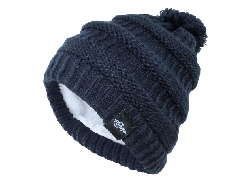 Women's Fear0 Plush Insulated Cold Gear Black Knit Pom Beanie Hat