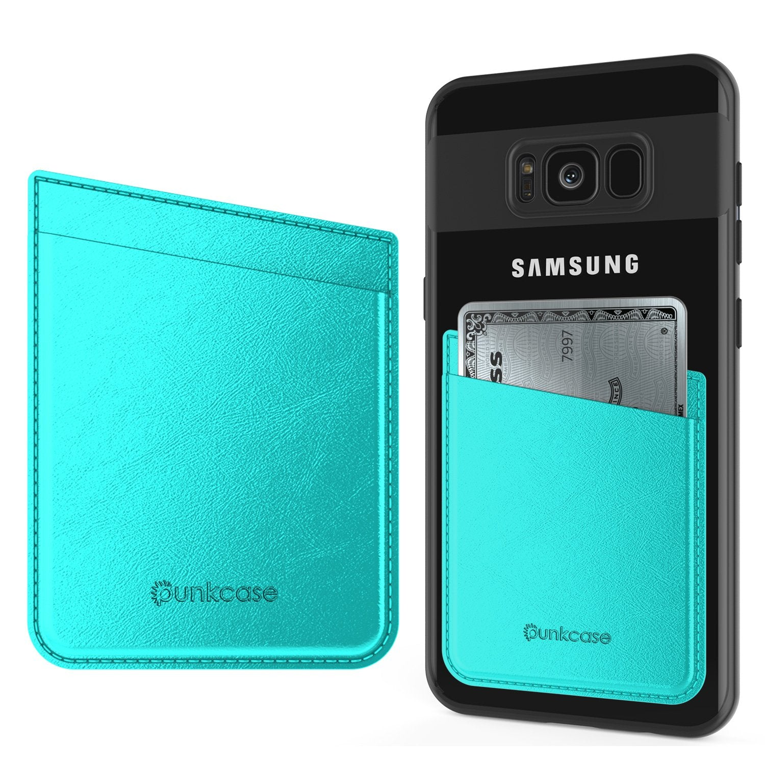 PunkCase CardStud Deluxe Stick On Wallet | Adhesive Card Holder Attachment for Back of iPhone, Android & More | Leather Pouch | [Teal]