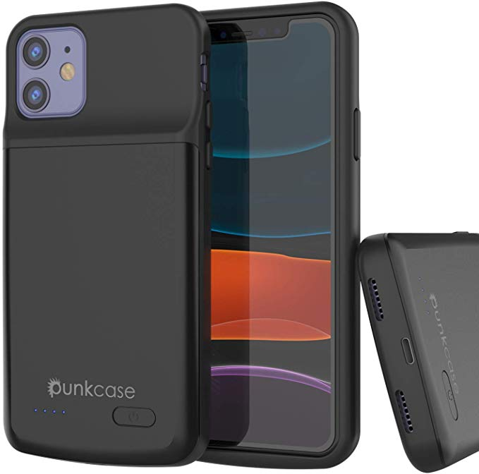 iPhone 11 Battery Case, PunkJuice 5000mAH Fast Charging Power Bank W/ Screen Protector | [Black]