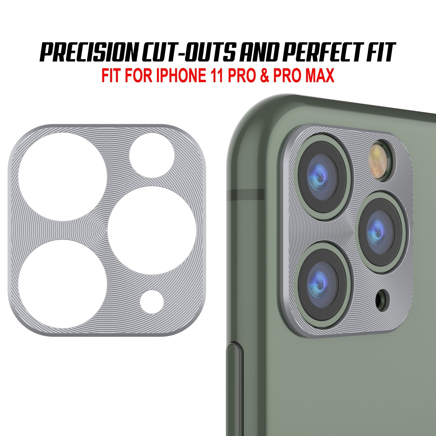 Punkcase iPhone 11 Pro Max Camera Protector Ring [Silver]