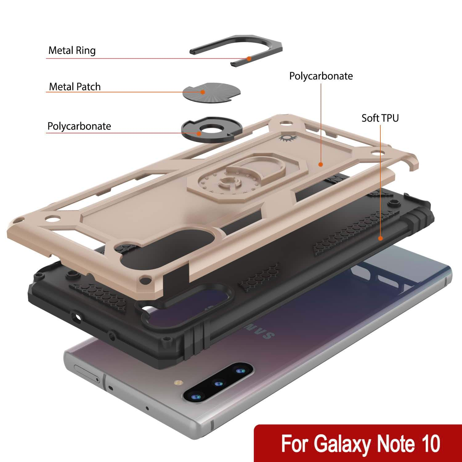 Galaxy Note 10 Punkcase Armor Military Case Gold