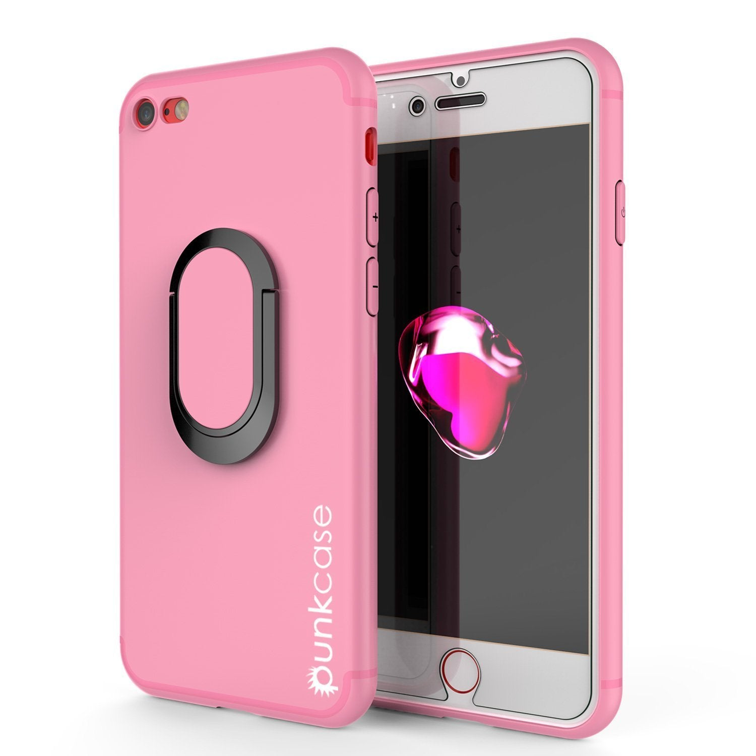 iPhone 8 Case, Punkcase Magnetix Protective TPU Cover W/ Kickstand, Ring Grip Holder & Metal Plate for Magnetic Car Phone Mount PLUS Tempered Glass Screen Protector for Apple iPhone 6 /7 & 8 [pink]