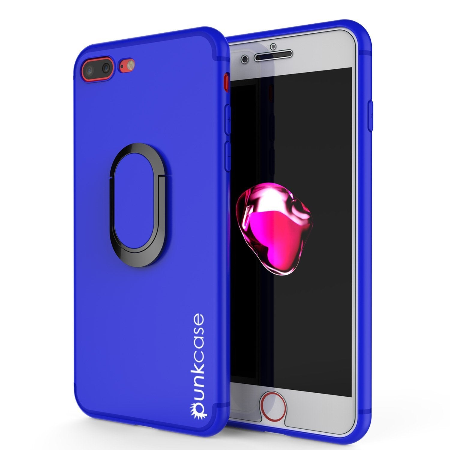 iPhone 8 Plus Case, Punkcase Magnetix Protective TPU Cover W/ Kickstand, Ring Grip Holder & Metal Plate for Magnetic Car Phone Mount PLUS Tempered Glass Screen Protector for Apple iPhone 7+/8+ [Blue]