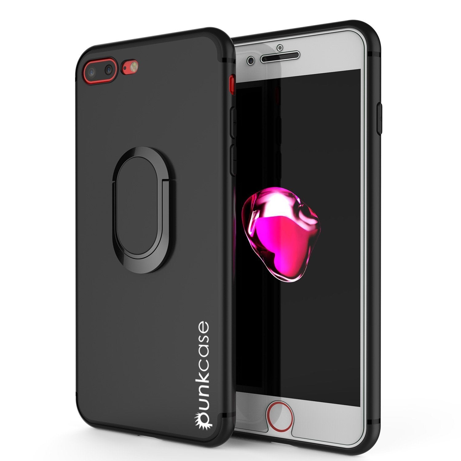 iPhone 8 Plus Case, Punkcase Magnetix Protective TPU Cover W/ Kickstand, Ring Grip Holder & Metal Plate for Magnetic Car Phone Mount PLUS Tempered Glass Screen Protector for Apple iPhone 7+/8+ [Black]