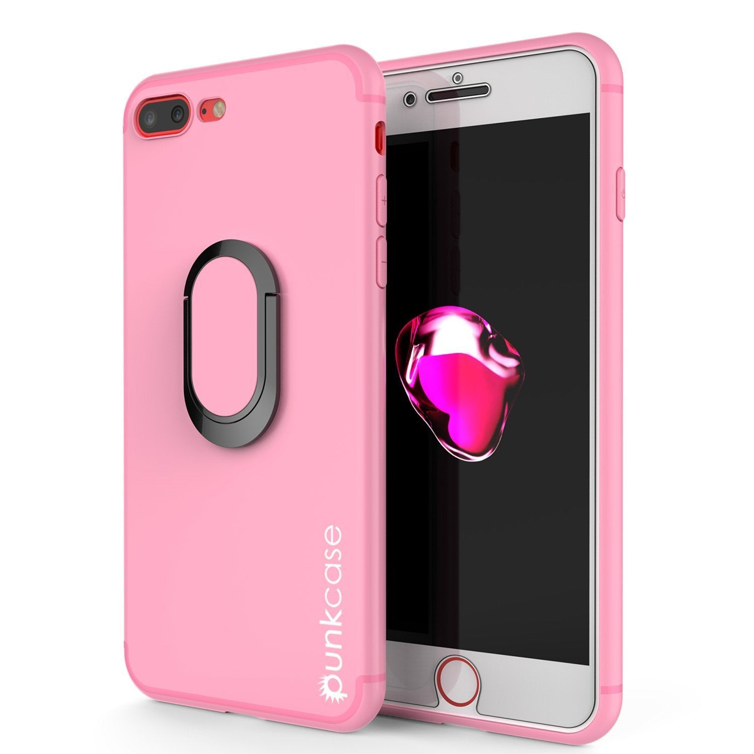 iPhone 8 Plus Case, Punkcase Magnetix Protective TPU Cover W/ Kickstand, Ring Grip Holder & Metal Plate for Magnetic Car Phone Mount PLUS Tempered Glass Screen Protector for Apple iPhone 7+/8+ [Pink]