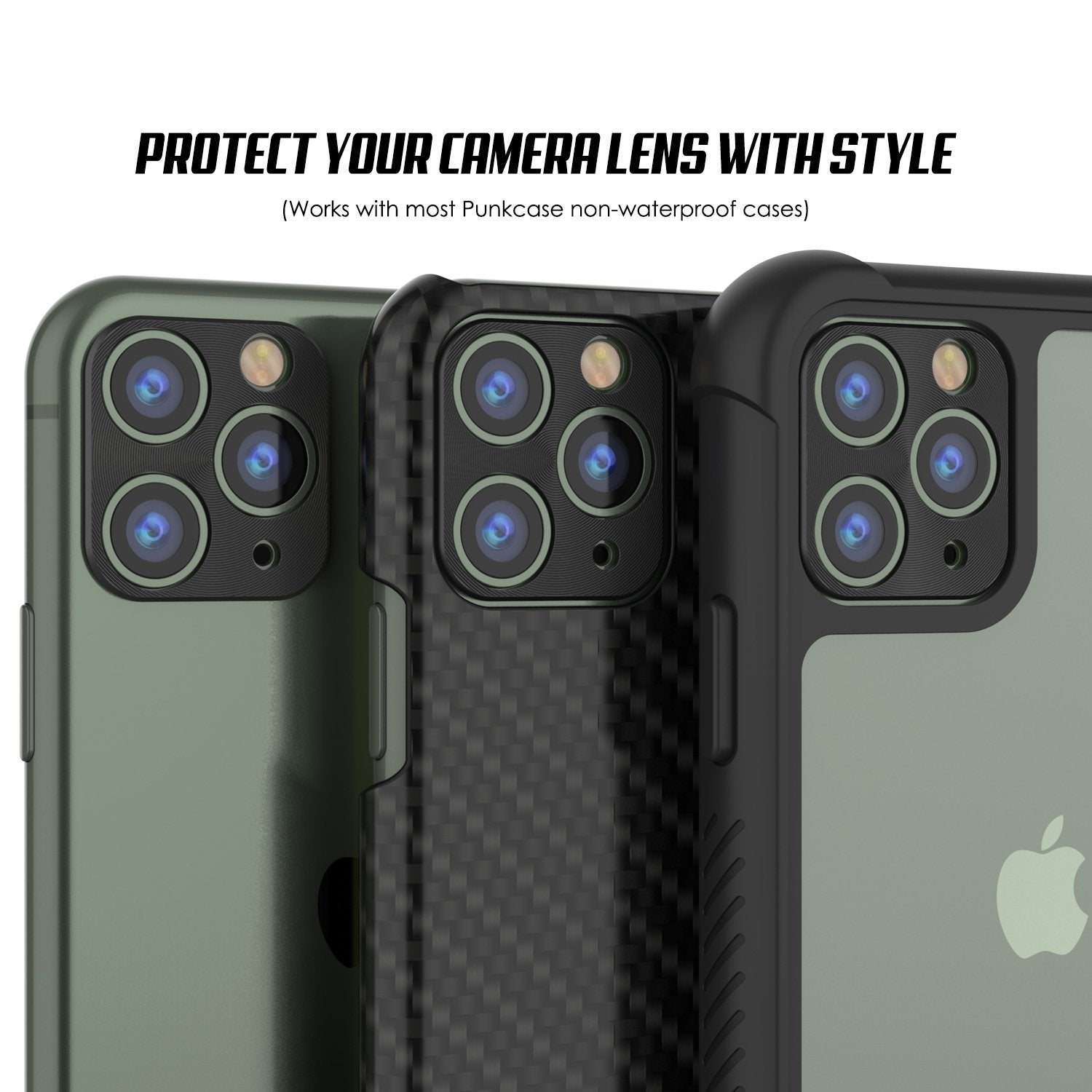 Punkcase iPhone 11 Pro Max Camera Protector Ring [Black]
