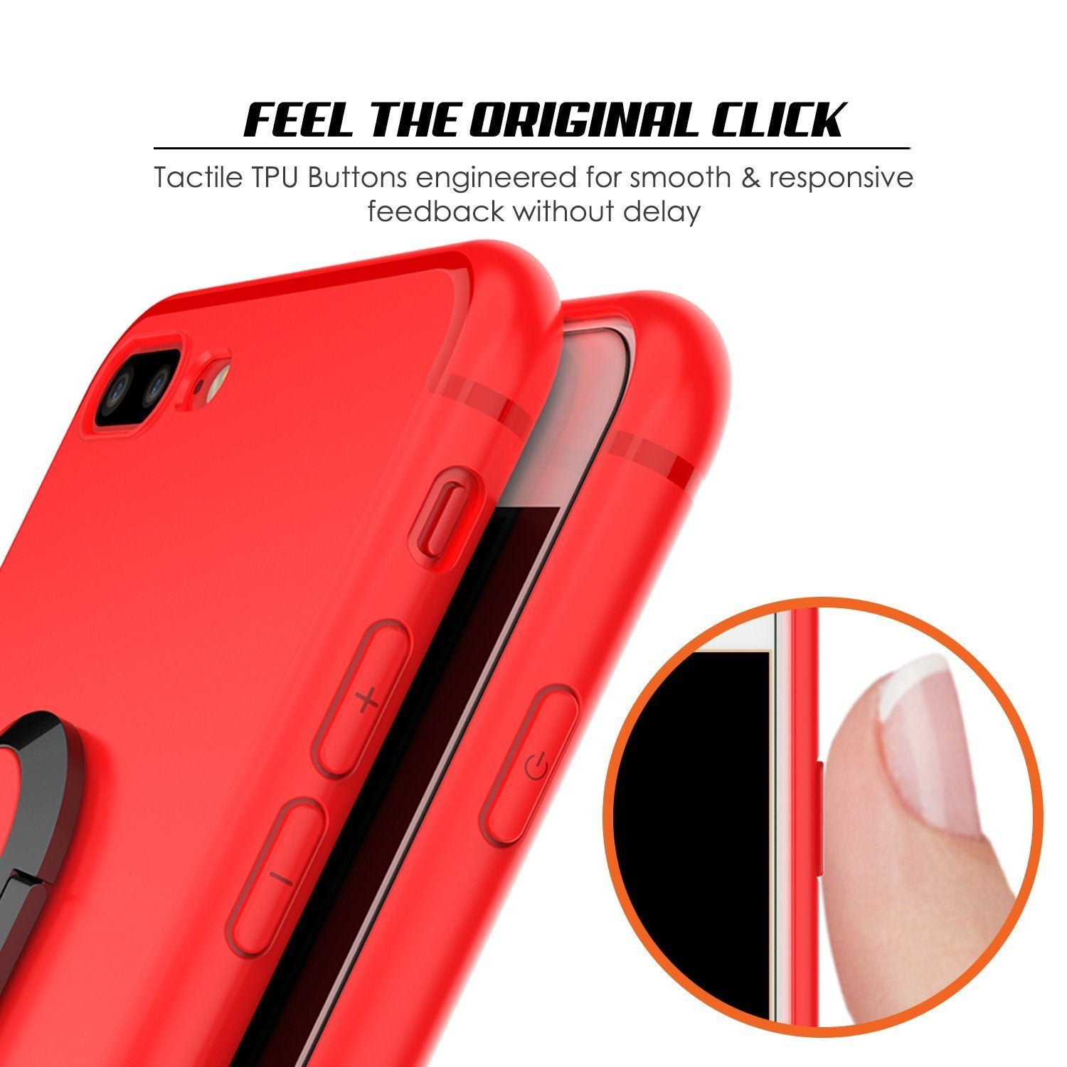 iPhone 8 Plus Case, Punkcase Magnetix Protective TPU Cover W/ Kickstand, Ring Grip Holder & Metal Plate for Magnetic Car Phone Mount PLUS Tempered Glass Screen Protector for Apple iPhone 7+/8+ [Red]